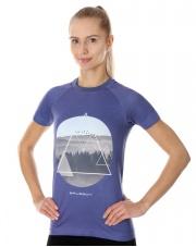 Damska koszulka z nadrukiem Brubeck fioletowa SS13230A