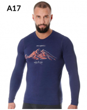 LS14140A Koszulka męska z długim rękawem OUTDOOR WOOL PRO ciemnoniebieski